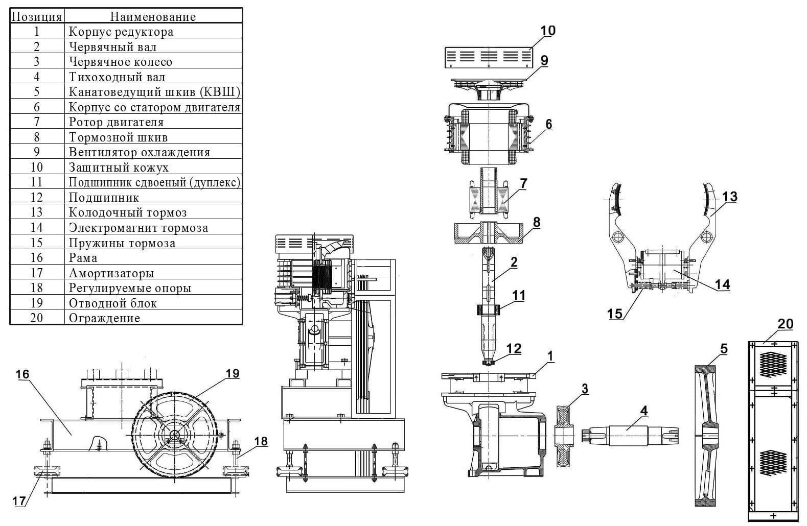 Конструкция лифтовых лебедок  SGR. Веллифт